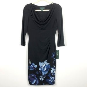 Lauren Ralph Lauren Dress  Black Floral Ruched
